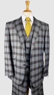 Plaid Suits - Peak Lapel 1920s Lapeled Vest Flat Front Pants Two