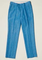 Linen Flat Front Pants — Deep Sea Blue Colors
