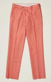 Linen Flat Front Pants — Tangy Orange Colors