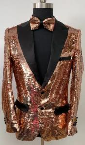 Rose Gold Tuxedo - Rose Gold Sequin Blazer With Matching Bowtie