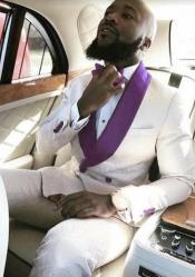 White and Purple Tuxedo Suit