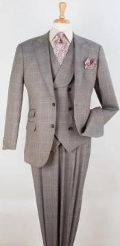 Mens Wool Suit - Pleated Pants - Double Breasted 6 Button Vest