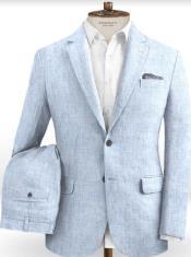 Mens Light Blue Linen Suit For Sale - Summer Suits 2 Button