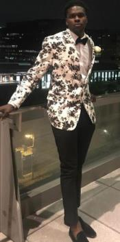 White and Black Floral Blazer - Dinner Jacket - Sport Coat -