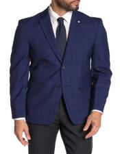 Mens Blue Checkered Blazer