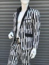 Black and White Gangster Stripe - Piana Pinstripe Pattern Suit With Matching