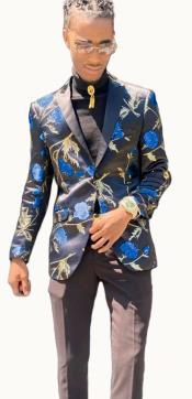Paisley Suit - Floral Suit Matching Bowtie Blue