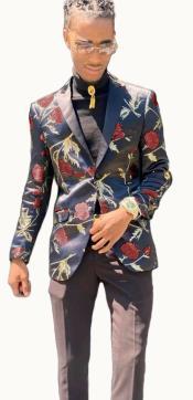 Paisley Suit - Floral Suit Matching Bowtie Burgundy