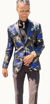 Paisley Suit - Floral Suit Matching Bowtie Royal