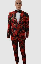 Red and Gold Suit With Matching Bowtie