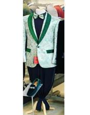 Mens One Button Shawl Lapel Green Suit