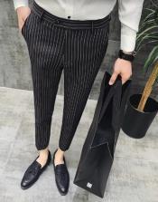 Black Pinstripe Dress Pants - Gangster Dress Pants - 1920s Pants