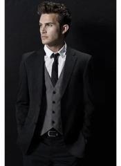 Mens Black Suit Gray Vest