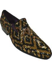 6861 Black and Gold Dress Shoe - Gold Loafer