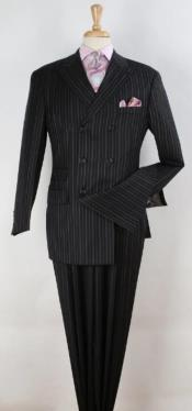 Mens 1920s Suit - Black Pinstripe Double Breasted Suit