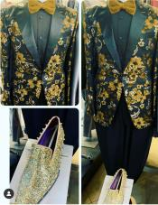 Gold Tuxedo With Black Pants - Gold And Gold Blazer Sport Coat Matching Bowtie