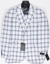 White and Navy Blue Plaid Suit - Windowpane Suit - Pattern Suit