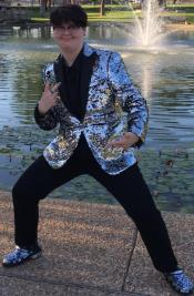 Mens Sequin Suit With Black Pants And Matching Bowtie - Silver Grey