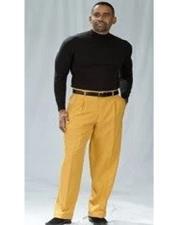Mens Gold Dress Pants - Pleated Pants