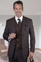 Vested Suit Window Pane Suit 2 Button Suits Wool Suit Statement Mens