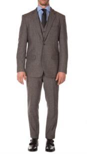 Mens Gray Tweed Suit - Grey Wool Suit - Winter Fabric Heavy