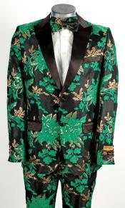 Mens 2 Button Peak Lapel Green Tuxedo