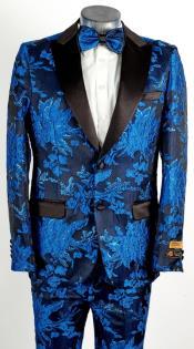 Mens 2 Button Peak Lapel Royal Blue Tuxedo