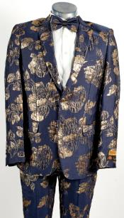Mens 2 Button Peak Lapel Navy Blue and Gold Tuxedo