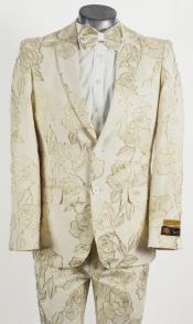 Mens 2 Button Peak Lapel Ivory and Gold Tuxedo