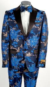 Mens 2 Button Peak Lapel Royal Blue and Gold Tuxedo
