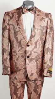 Mens 2 Button Peak Lapel Dusty Rose and Pink Tuxedo