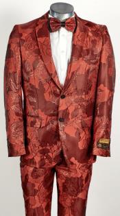 Mens 2 Button Peak Lapel Red Tuxedo