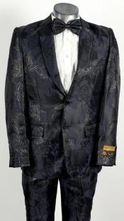Mens 2 Button Peak Lapel Black and Navy Tuxedo