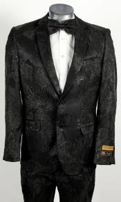 Mens 2 Button Peak Lapel Black Tuxedo