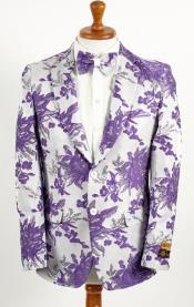 Mens Two Button White ~ Lavender Purple Paisley Pattern Blazer