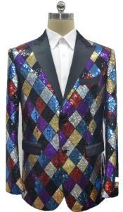 Mens Square Pattern Multi Color Rainbow Sequin Blazer