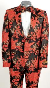 Mens 2 Button Floral Paisley Prom and Wedding Tuxedo Black ~ Red