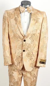 Mens 2 Button Champagne Peach Floral Rose Design Prom Wedding Tuxedo Tan