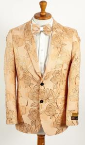 Mens 2 Button Champagne Peach Floral and Rose Design Prom and Wedding Tan Blazer
