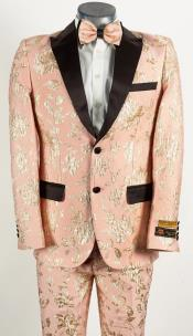 Mens 2 Button Light Baby Pink and Gold Floral Paisley Tuxedo Pink