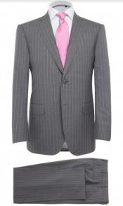 Grey And Pink Pinstripe Suit - Gray Stripe Mens Suit