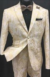 White and Gold Tuxedo With Matching Bowtie