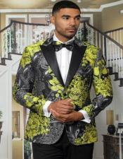 Gold Tuxedo with Black Pants and Matching Bowtie - Paisley Suits - Floral Prom or Wedding Suit