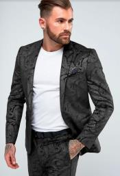 Paisley Suit - Floral Suit Wedding Prom Suit Black + Matching Bowtie