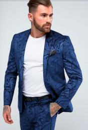 Paisley Suit - Floral Suit Wedding Prom Suit Royal + Matching Bowtie