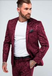 Paisley Suit - Floral Suit Wedding Prom Suit Burgundy + Matching Bowtie
