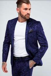 Paisley Suit - Floral Suit Wedding Prom Suit Dark Blue + Matching