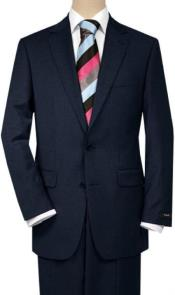 Suits For Big Belly Solid Navy Blue