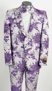 Mens Two Button White ~ Lavender Purple Paisley Pattern Wedding Tuxedo
