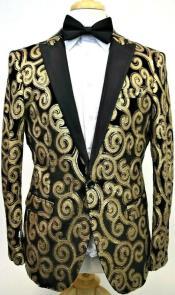 Mens Single Breasted 1 Button Fancy Blazer Black ~ Gold